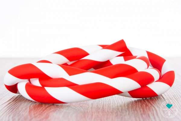 Silikonschlauch - Striped | Rot/Weiß