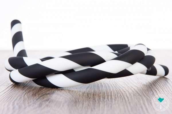 Silikonschlauch - Striped | Schwarz/Weiß